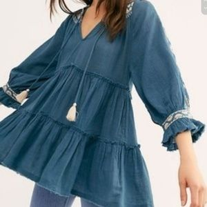 FREE PEOPLE Teal Blue Dreamweaver Tunic Dress